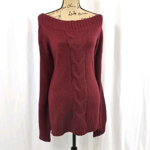 LANE BRYANT Oversized Cable Knit Sweater Maroon